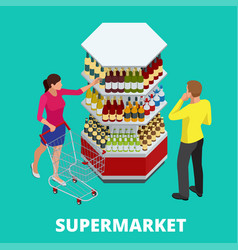 Women and men shopping alcohol in supermarket vector
