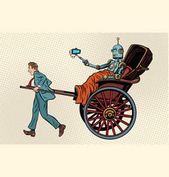 People rickshaw ride robot vector