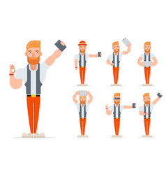 Selfie geek hipster casual character icons set vector