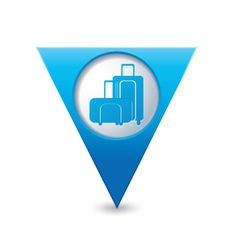 Suitcases icon map pointer blue vector