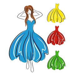 Girl in blue dress and set of gowns vector