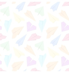 Seamless pattern with colored paper planes vector