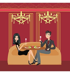 Romantic dinner in a restaurant vector