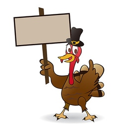Thanksgiving turkey holding a blank sign vector