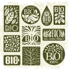 Bio and natural product set of labels vector