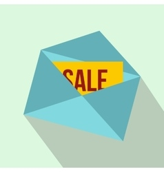 Envelope with card sale icon flat style vector