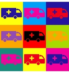 Ambulance sign pop-art style icons set vector