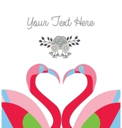 Love card template two flamingo make heart shape vector