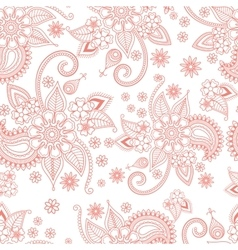 Pink floral ornate pattern on white background vector