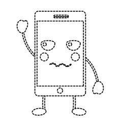 Angry cellphone kawaii icon image vector