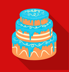 Blue three-ply cake icon in flate style isolated vector