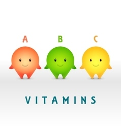 Cartoon characters Vitamin pills for healthy vector image