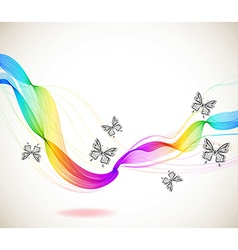 Colorful abstract background with butterfly and vector image