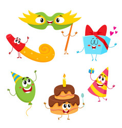 Cute and funny birthday item characters with vector