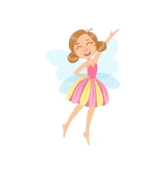 Cute Fairy In Pink Dress Girly Cartoon Character vector image vector image