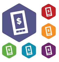 Dollar phone rhombus icons vector