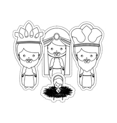 Dotted sticker the three wise men with jesus baby vector