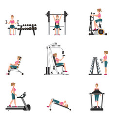 fitness cardio exercise and equipment vector image vector image