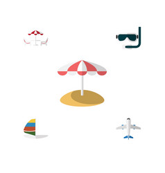 Flat icon beach set of parasol scuba diving vector