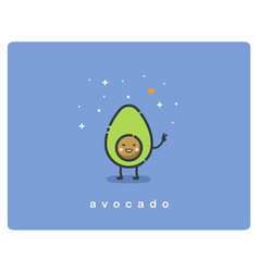 flat icon of avocado cute cartoon character vector image vector image