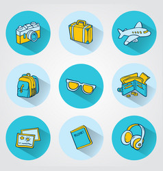 Flat travel icons for web and mobile applications vector