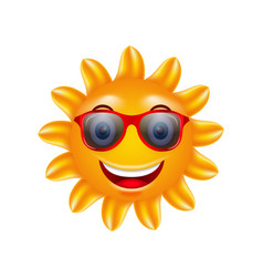 funny face of summer sun with sunglasses vector image vector image