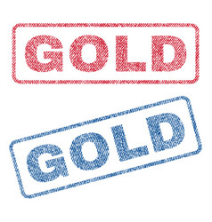 Gold textile stamps vector