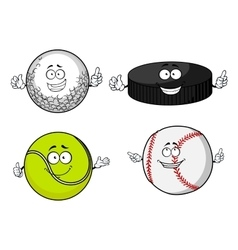 Golf tennis baseball balls and hockey puck vector