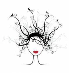 hairstyle silhouette vector image vector image