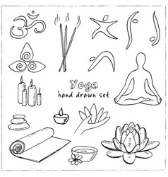 Hand drawn doodle yoga symbols icons and asanas vector