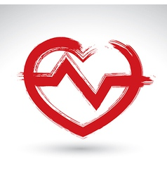 Hand drawn red heart icon brush drawing heart sign vector image vector image