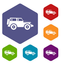 Jeep icons set vector