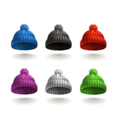 Knitted cap icon set vector