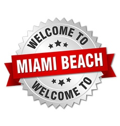 Miami beach 3d silver badge with red ribbon vector