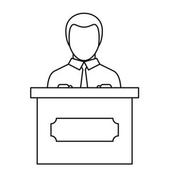 orator speaking from tribune icon outline style vector image