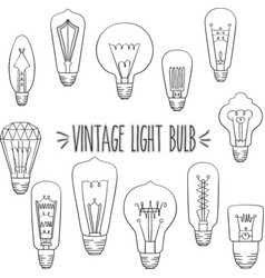 outline vintage light bulb vector image vector image