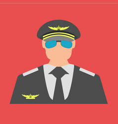 Pilot flat icon sign and symbol vector