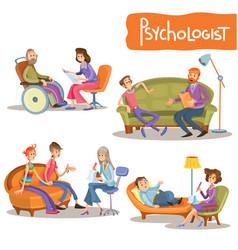 Psychologist private practice cartoon set vector