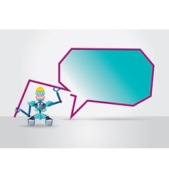 Robot with speech bubble vector image vector image