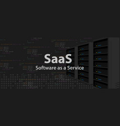 Saas software as a service code line of vector