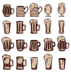 set of beer mugs and glasses design elements for vector image vector image