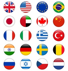Set of popular country flags glossy round icon set vector