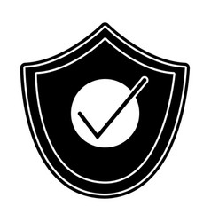 Silhouette shield security and protection object vector