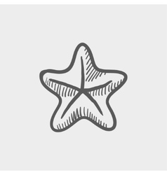 Starfish sketch icon vector