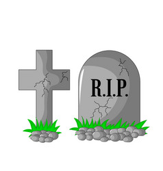 tombstone rip and cross with stones and grass vector image