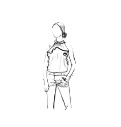 Fashion model woman sketch vector