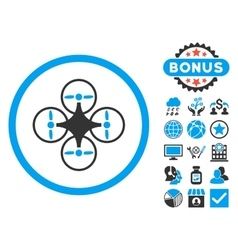 Air copter flat icon with bonus vector