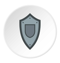 Black steel shield icon flat style vector