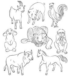 Bull cock goat horse monkey pig rabbit tiger vector