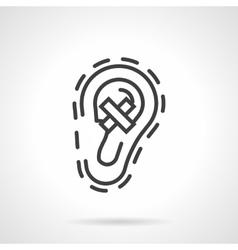Hear loss simple line icon vector